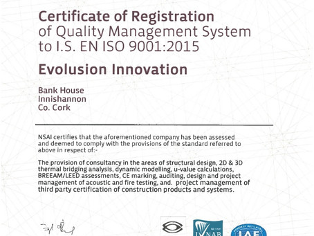 Evolusion certified to the world's foremost quality management standard
