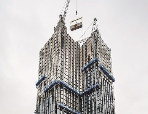 NOV 2019 - Tide Construction/Vision Modular Systems installs final module in 44-storey Croydon tower