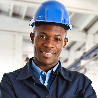 Travailleur avec des casques bleus
