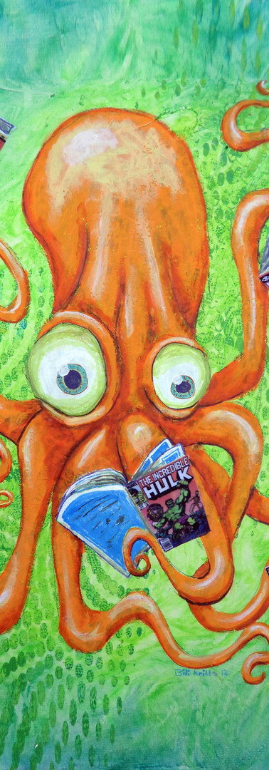 Comic Book Reading Octopus