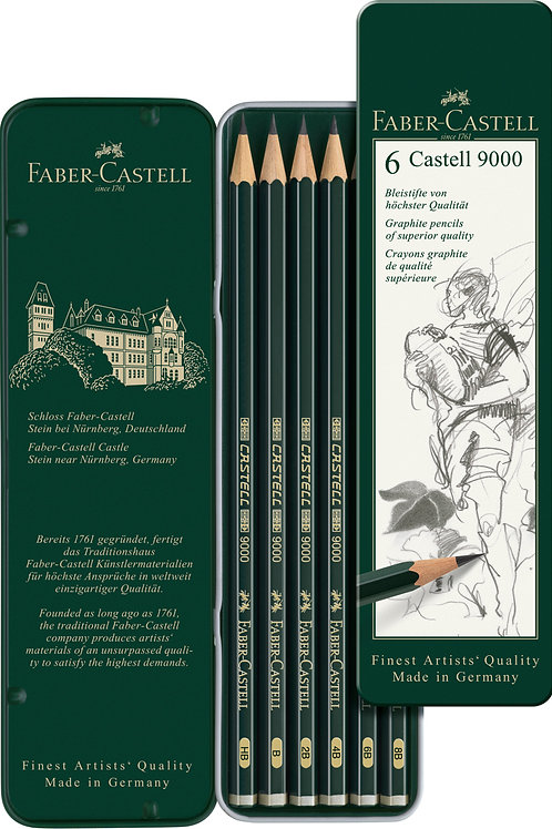Castell 9000 Tegneblyant, Sortimentsæske Med 6 Stk.