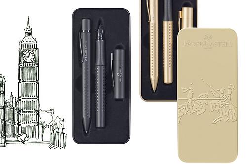 Kuglepen og fyldepen i gavesæt i fin metalæske 'guld' eller sort