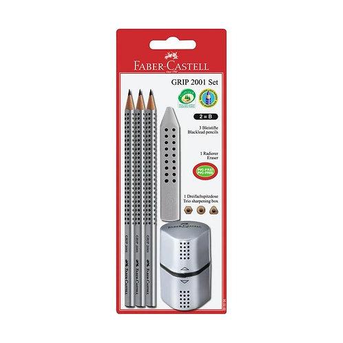 Skolesæt med 3 Faber-Castell blyanter, 1 viskelæder og 1 spidser. Vælg farve