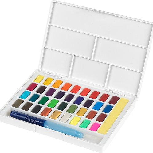Akvarelfarver, 36 vandfarver i smart sæt med pensel