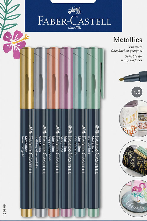 Metallic Marker til glas, porcelæn, plastic m.m. 6 forskellige farver