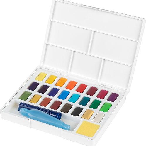 Akvarelfarver, 24 vandfarver i smart sæt med pensel