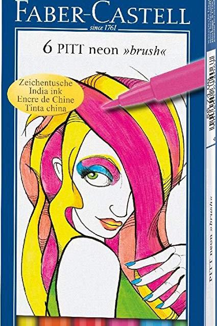 Pensel-tuscher i plastetui, Pitt Artist med 6 neonfarver