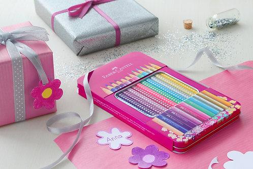 Farveblyanter 'Sparkle' i pink metalæske 12 stk. + tilbehør