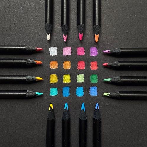 Farveblyanter egnet til sort papir,  36 stk. sorte farveblyanter