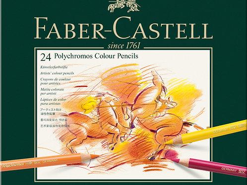 Farveblyanter,  Polychromos Metalæske Med 24 Stk.