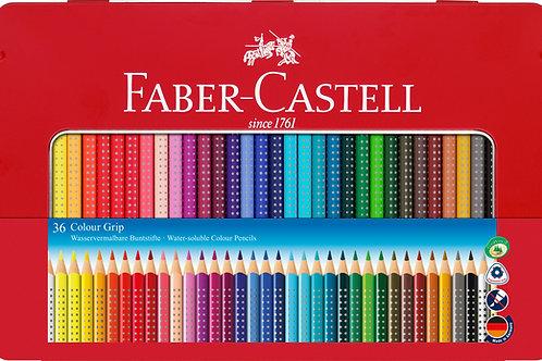 Faber-Castell Farveblyanter i Metalæske Med 36 Stk. Colour Grip