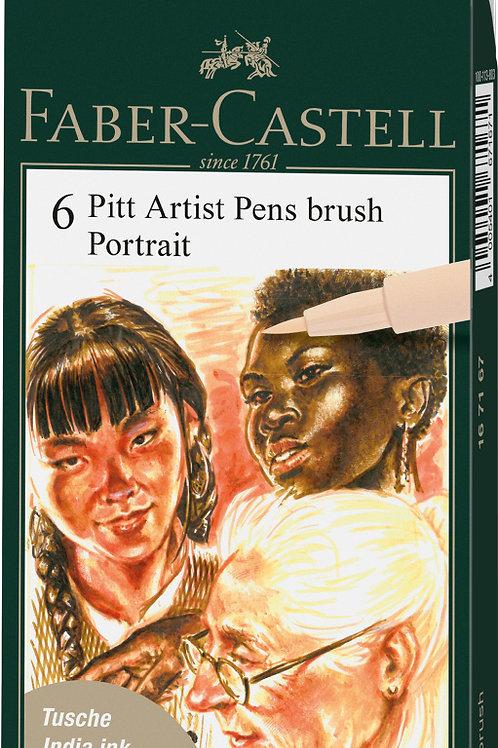 Portræt farver - Kunstnertuscher PITT Artist 6 forskellige hudfarver