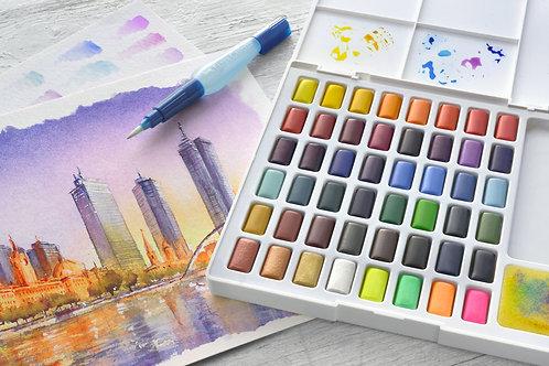 Akvarelfarver, 48 vandfarver i smart sæt med pensel