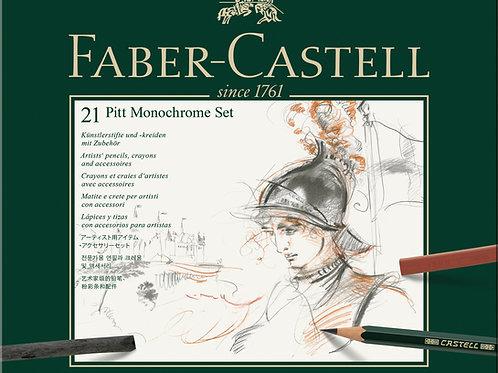 Faber-Castell Pitt Monochrome Kunstnersæt i Metalæske Med 21 Dele