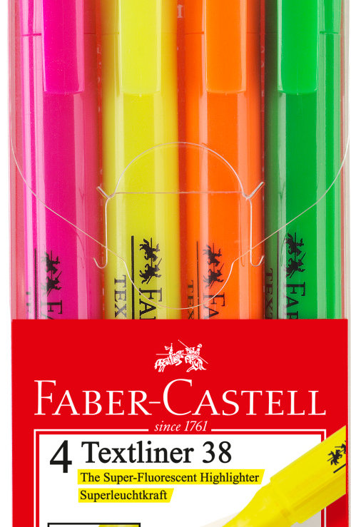 Overstregningspen i 4 fluorescerende farver