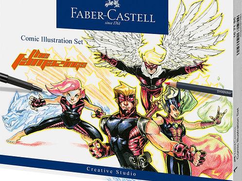 Comic Illustration, tegnesæt med 14 dele