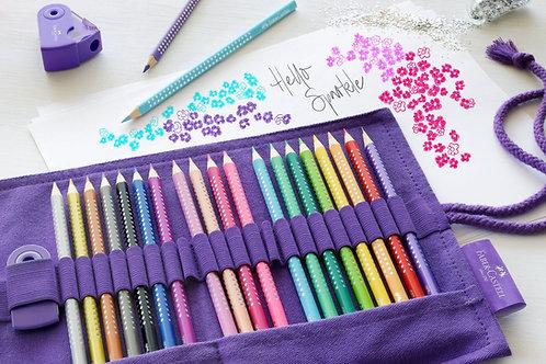Farveblyanter 'Sparkle' i lilla kanvas-omslag, 20 stk. + tilbehør