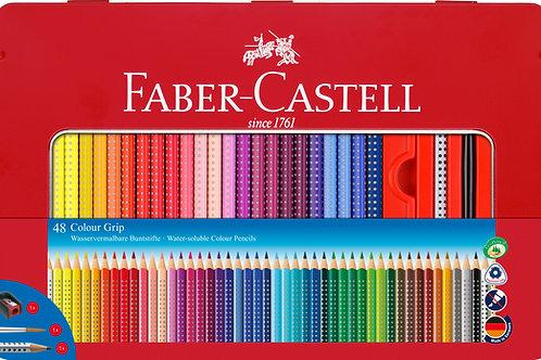 Faber-Castell Farveblyanter i Metalæske Med 48 Stk. Colour Grip
