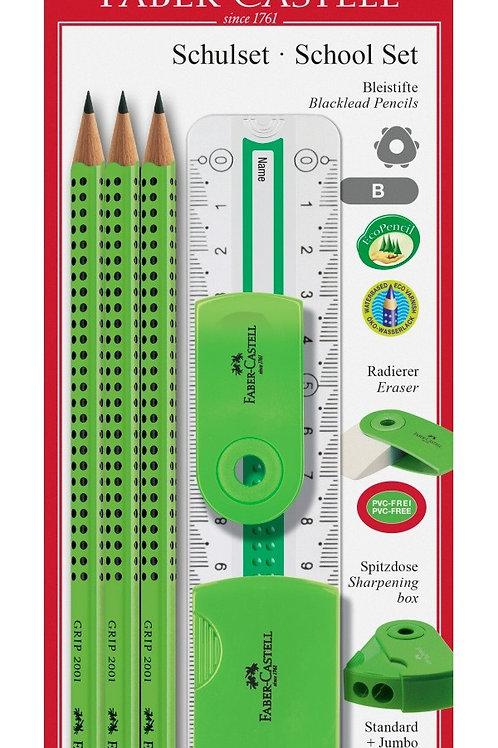 Skolesæt med 3 Faber-Castell blyanter, viskelæder, spidser og lineal