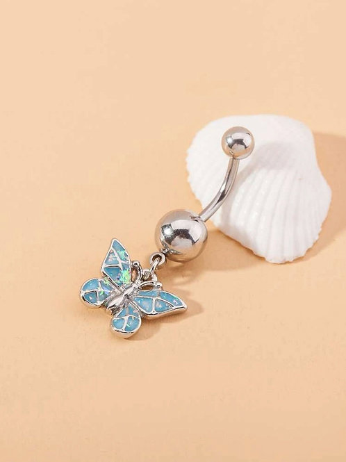 Blue Butterfly Belly Ring