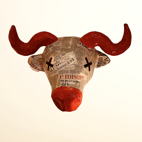 BULL HEAD | Newspaper/red |Life Size | Paper Maché