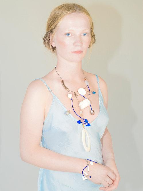Creative Art Wear | Necklace | Blue/Ivory