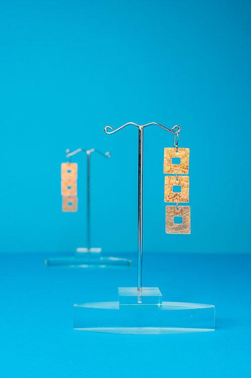 MIKILA | Earrings | 3 Squares Bronze