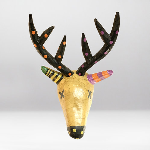 Deer Head | Black-Camel |Life Size | Paper Maché