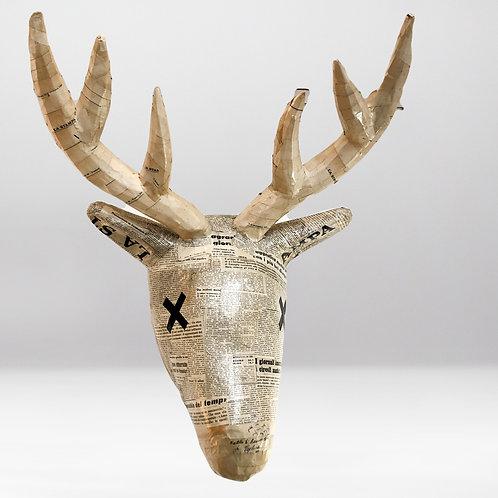 Deer Head | Newspaper | Life Size | Paper Maché