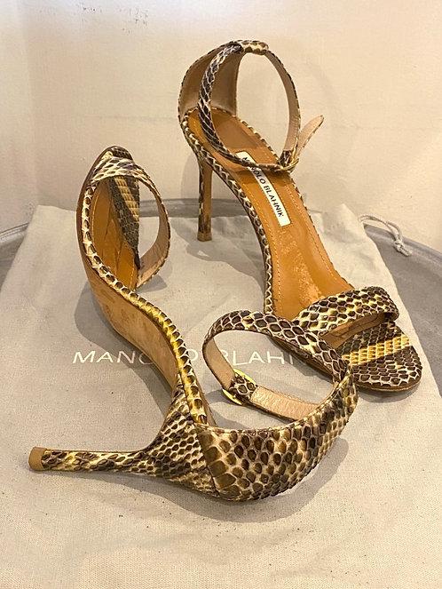 Manolo Blahnik Chaos Snakeskin Heels