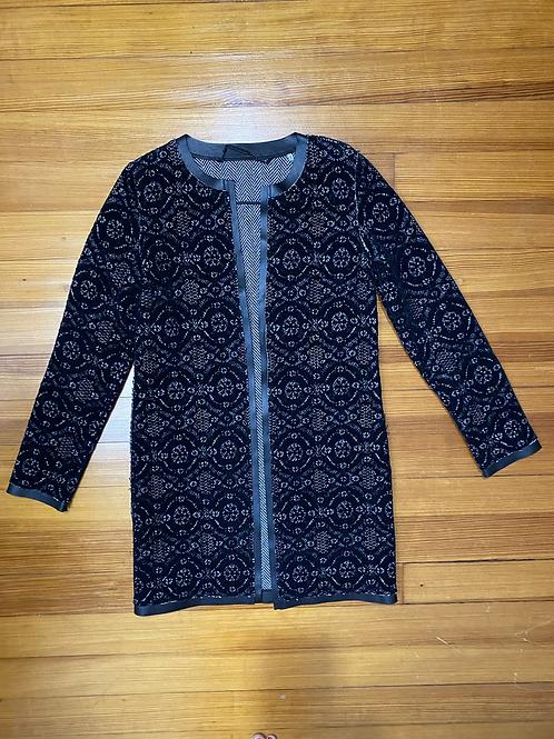 Elie Tahari Leather Trim Jacquard Jacket