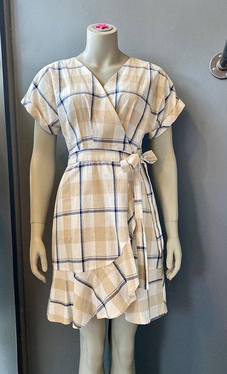 J.O.A Plaid Wrap Dress