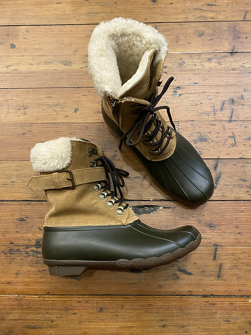Sperry Zip Lace Up Sherpa Duck Boots