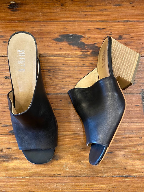 Silent D Stacked Heel Mules