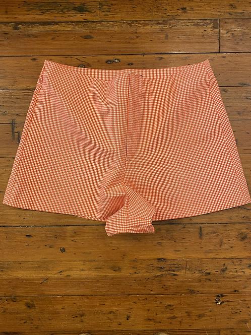 Zara High Rise Gingham Shorts   XL