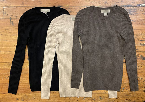 Ply Cashmere Ribbed Sweater