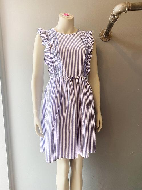 CK Bradley Smocked Stripe Dress   Small
