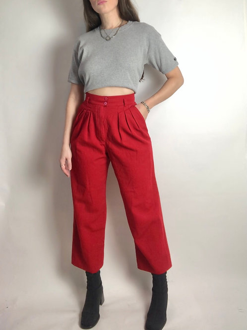 Wool candy cane red trousers