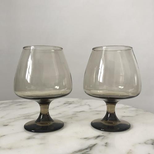 Set of 2 Vintage 70s Cognac Glasses