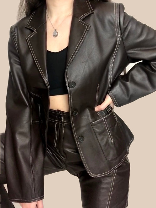 Chocolate Brown Leather Blazer
