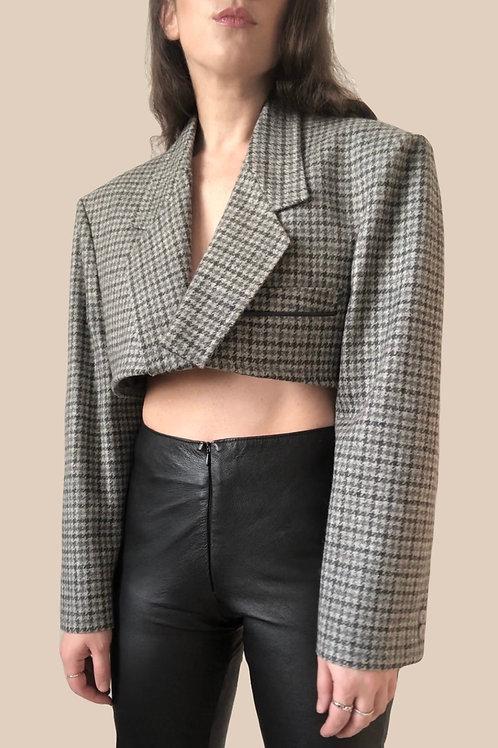 Crop wool houndstooth blazer