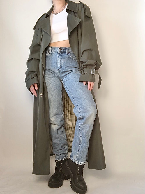 Dark forest green trench (one size)