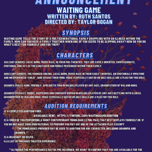 Waiting Game - Audition Announcement (FA