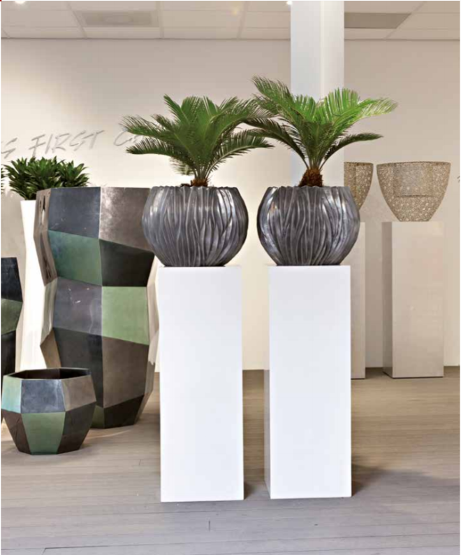 Tall metal office plant displays
