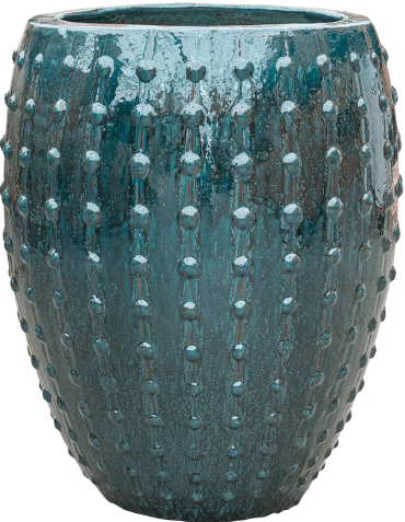 Studded ceramic office plant container