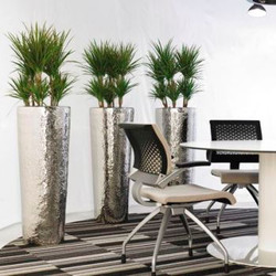 Hammered Aluminum office plant container