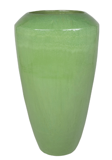 Green ceramic office plant pot
