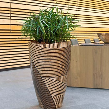 unique wooden office plant display
