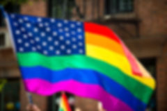 American flag with stars and gay pride