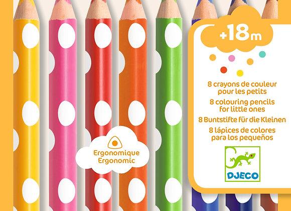 8 colori a legno ergonomici 18M + Djeco